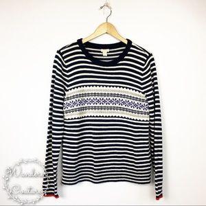 J. Crew Striped Fair Isle Sweater